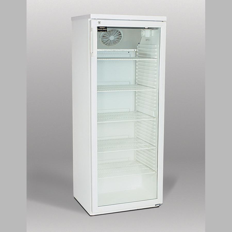Nicht mehr im Programm! Flaschenkühlschrank 352 Liter, Glastür, Umluft, abschließbar, fünf Einlegegitter, weiß