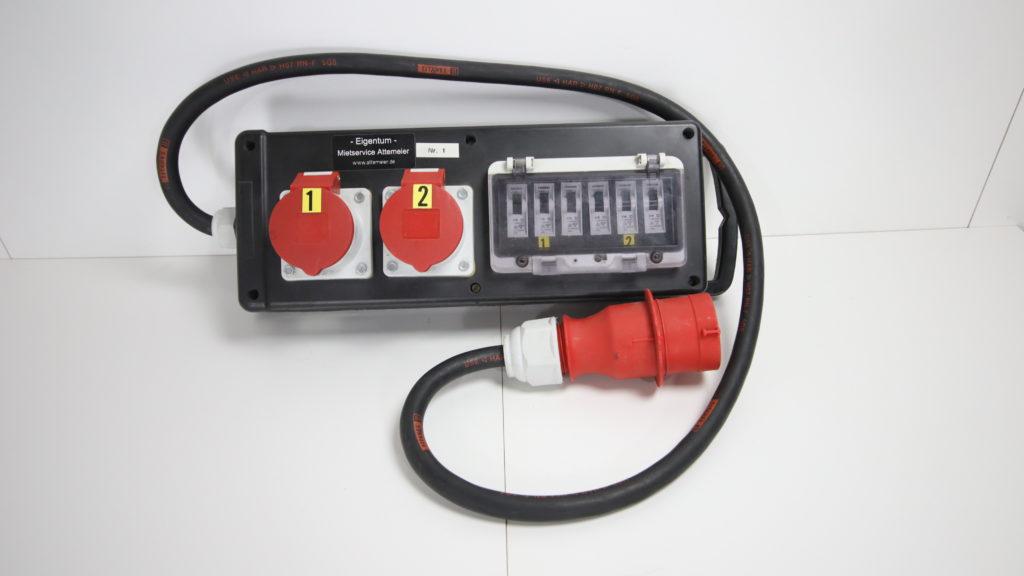 Gummistromverteiler 32 A / 2 x CEE 16 A Steckdosen