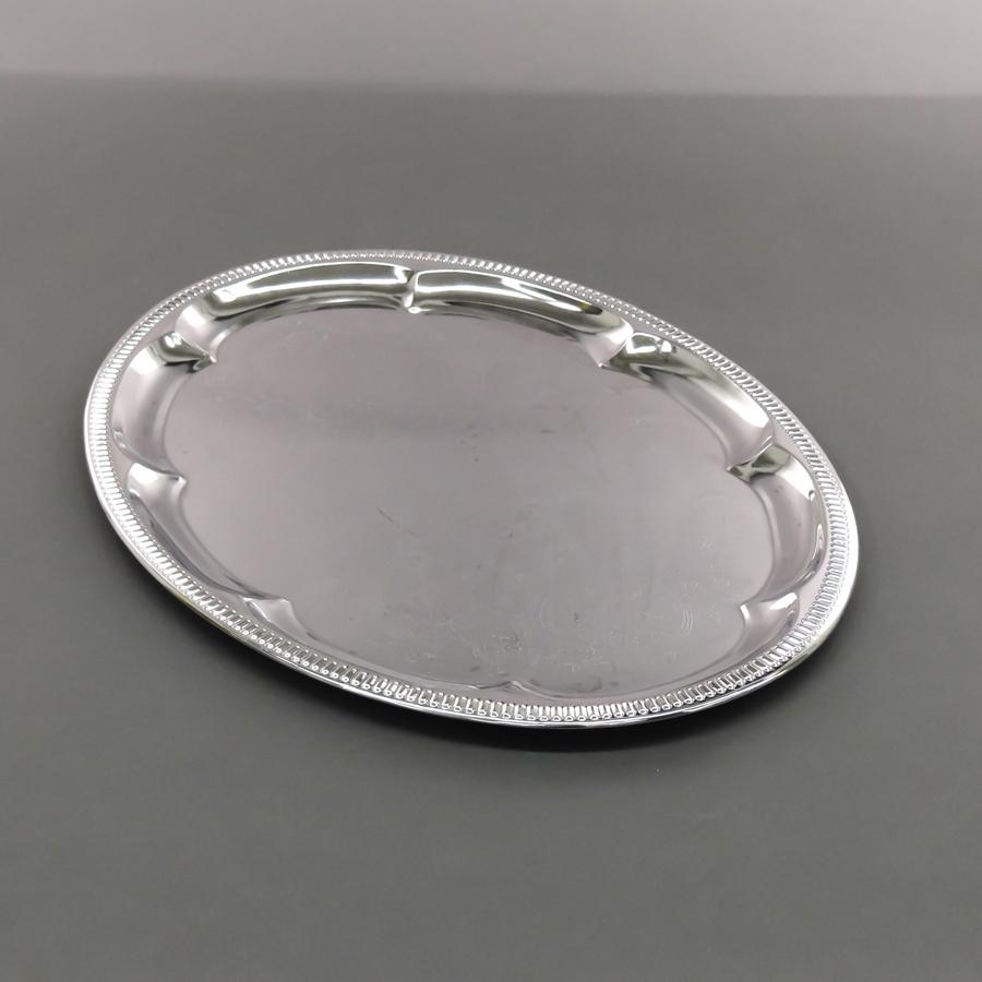 Servierplatte oval, 460 x 340 mm, chrom