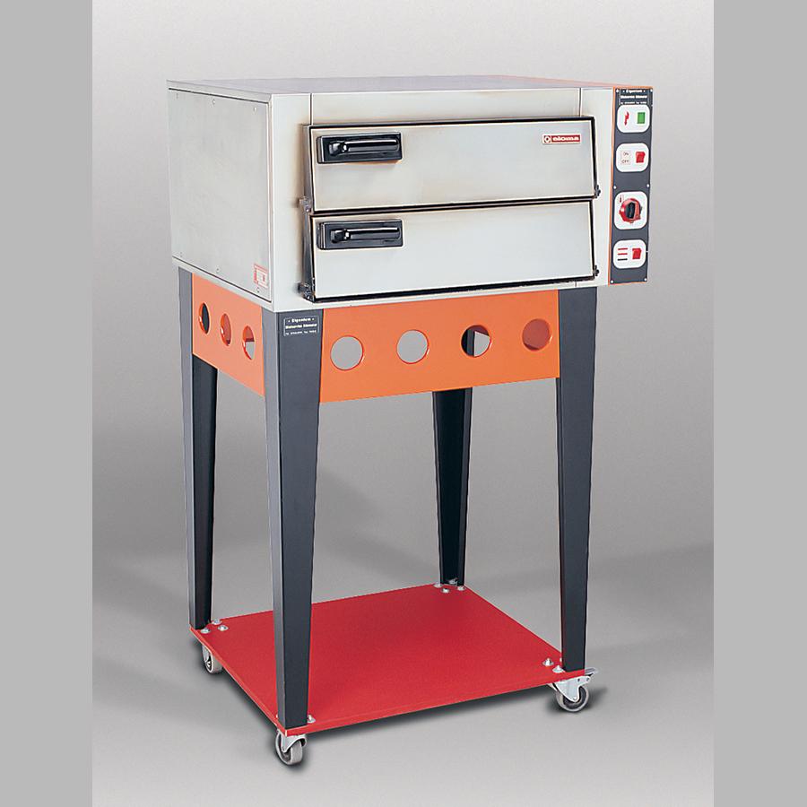 Pizzaofen mit Untergestell, 400 V / CEE 16 A, bis 370° C, rot