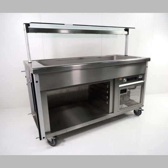 SB-Theke/Kalt Salatbar 4 x 1/1 GN 150 mm, B x H x T= 1550 x 1300 x 700 mm, beleuchtet, 1 Voratsbehälter ungekühlt mit 4 Einschüben, edelstahl