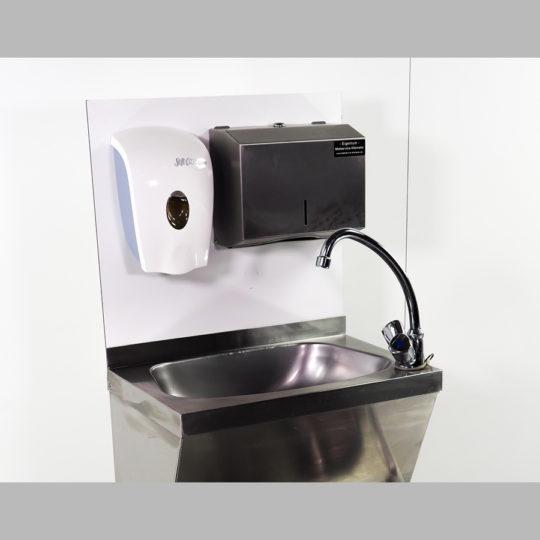 Montagebrett für Gastrohandwaschbecken mit Hygieneeinrichtung und Handtuchspender