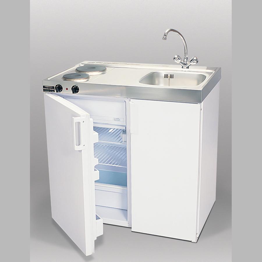 Kombiküche, B x H x T = 900 x 890 x 600 mm (Höhe mit Rollen: 1080 mm), edelstahl/weiß