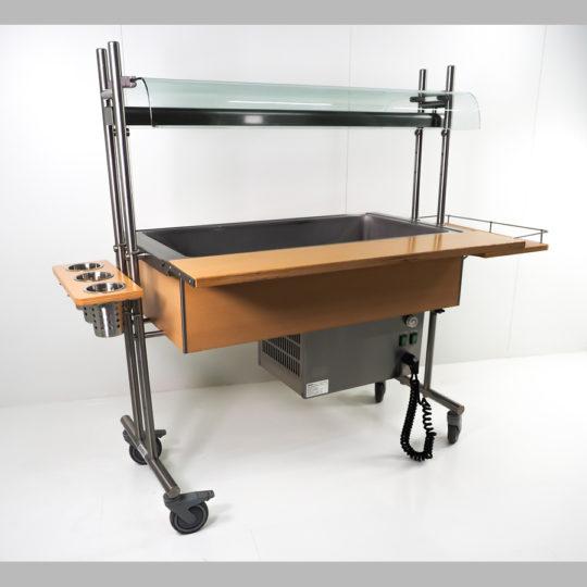 SB-Theke/Kühl-/Frisch mit Lichtband, auf Rollen, Roll-in-Buffetto, 1440 x 600 mm, Buche
