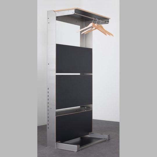 KOOLKITpremium / Messe-Systemregal / 4 x Klappregalböden, 1 x Garderobenstange
