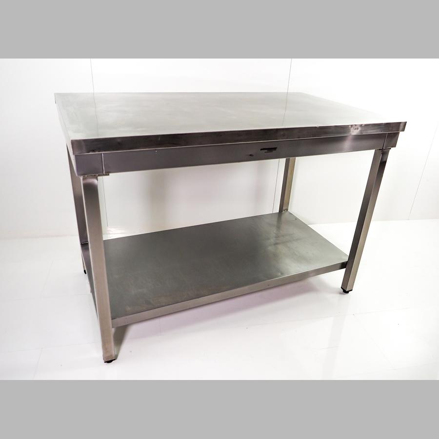 V2A-Arbeitstisch, mit Ablageboden,  B x H x T = 1200 x 850 x 700 mm, edelstahl (höhenverstellbar)