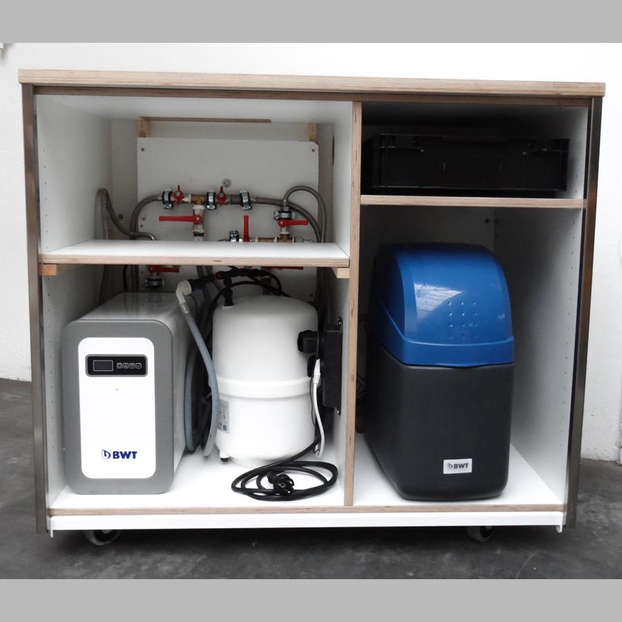 Mobile Osmoseanlage für alle Spülmaschinen mit Vorschaltung einer Teilentsalzung