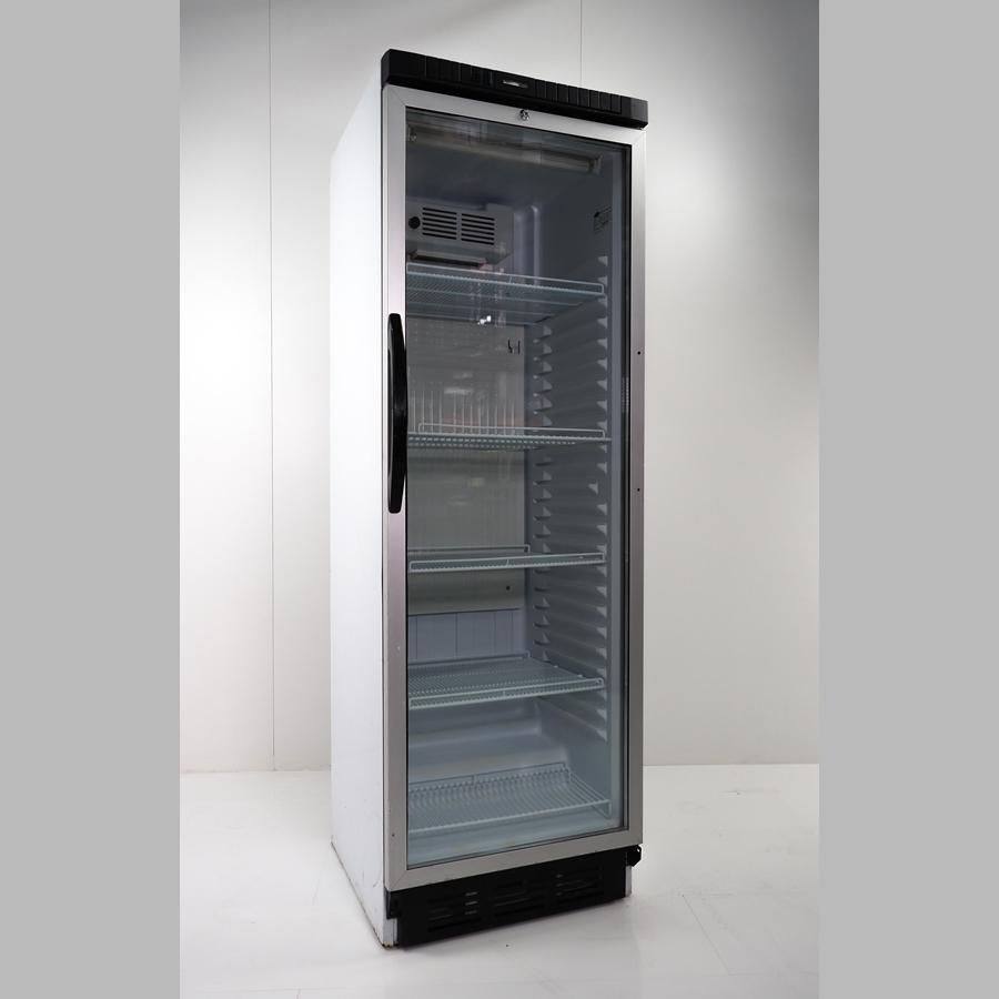 Flaschenkühlschrank 380 Liter, Glastür mit Rahmen alu, Umluft abschließbar, Korpus weiß