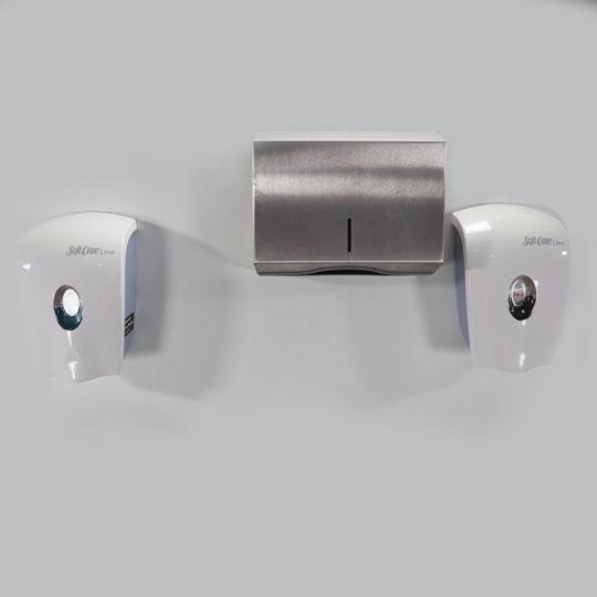 Montagebrett für Hygienestation für Flüssigseife, Papierhandtücher, Händedesinfektion, ohne Bestückung,  B x H x T = 900 x 1540 mm, weiß