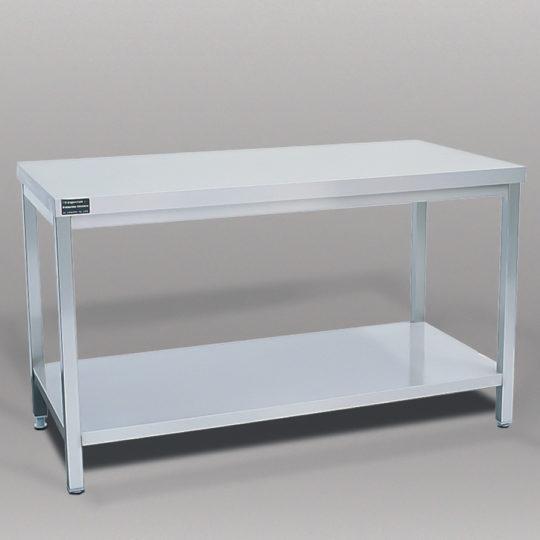 V2A-Arbeitstisch, mit Ablageboden,  B x H x T = 1400 x 900 x 700 mm, edelstahl
