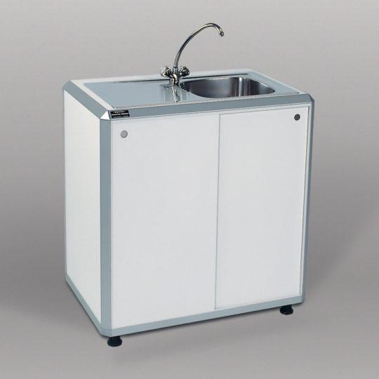 Combi 1 / System-Einfachspüle, B x H x T = 900 x 960 x 600 mm, weiß, Becken rechts