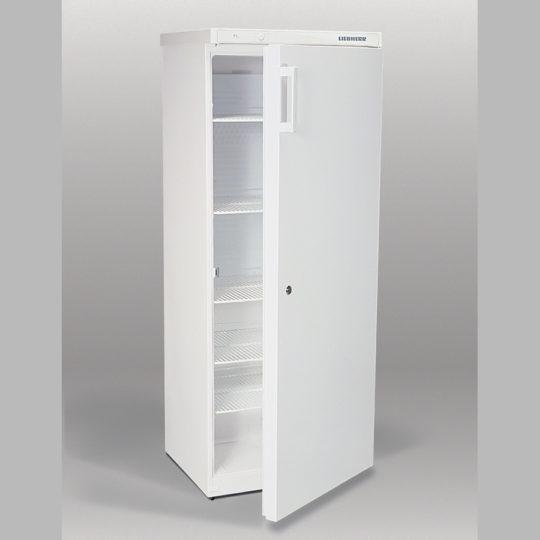 Flaschenkühlschrank 352 Liter, Umluft, abschließbar, fünf Einlegegitter, weiß