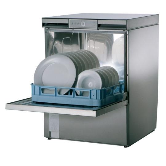 Profi-Geschirrspüler FP-GP, 3-6 Minuten, mit Trocknung, incl. Adapter 230 V / 400 V, Korb 500 mm, 1 Teller-,1 Gläser-, 1 Universalkorb, 1 Besteckköcher