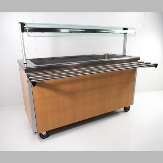 SB-Theke/Kalt Salatbar 4 x 1/1 GN 150 mm, B x H x T= 1550 x 1300 x 700 mm, beleuchtet, edelstahl / Holz