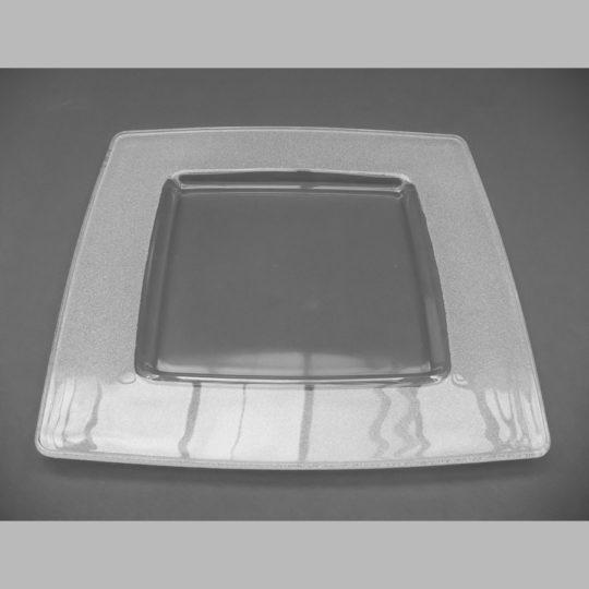 Glasteller eckig, 330 x 330 mm, strukturiert