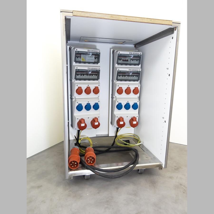 KOOLKITpremium / Technik-Element / Starkstromverteiler 400 V, 32 A (2 x CEE16A, 3 x Schuko 230 V, 3 x Schuko 230 V abschaltbar)