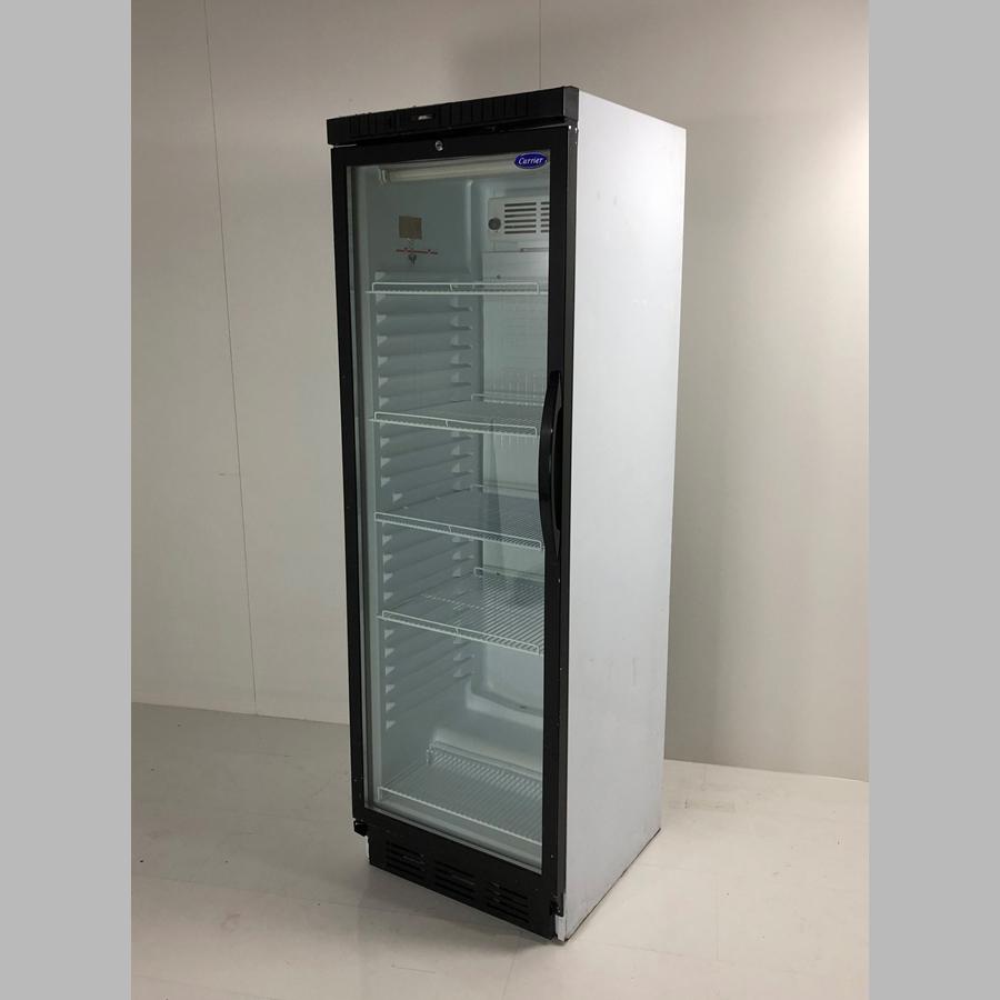 Flaschenkühlschrank 380 Liter, Glastür mit Rahmen schwarz, Umluft, abschließbar, Korpus weiß