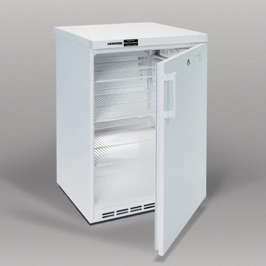 Unterbau-Flaschenkühlschrank 180 Liter, abschließbar, drei Einlegegitter, Deckel abnehmbar, weiß