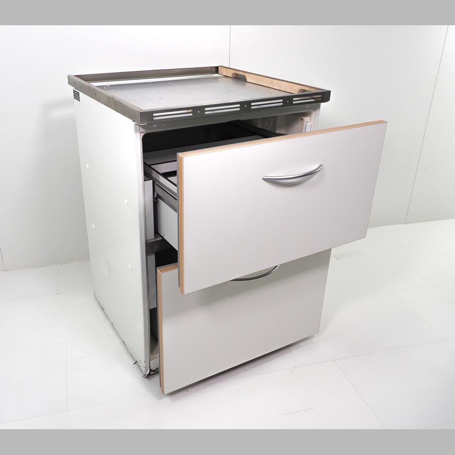 Thekenkühlschrank, Unterbau mit zwei Auszügen 160 Liter, 850 x 600 x 600 mm, Umluftkühlung, weiß