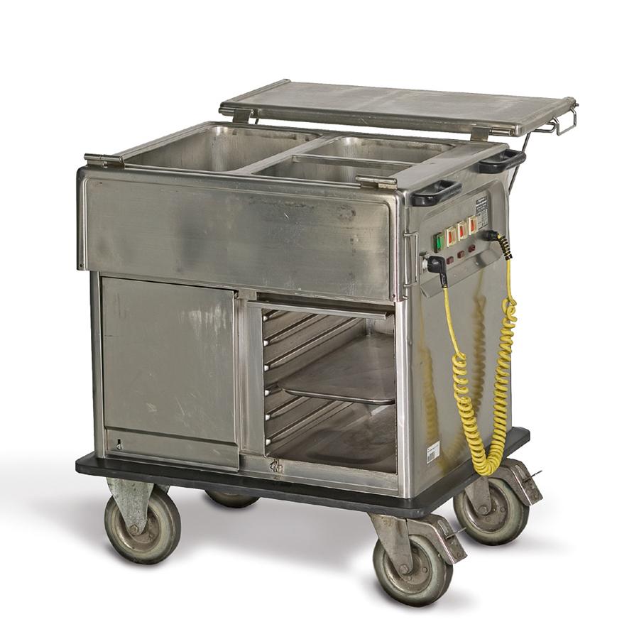 Speiseausgabewagen 1 x 1/1, 2 x 1/2 GN, fahrbar, mit Wärmeunterschrank, B x H x T = 900 x 1000 x 680 mm, edelstahl