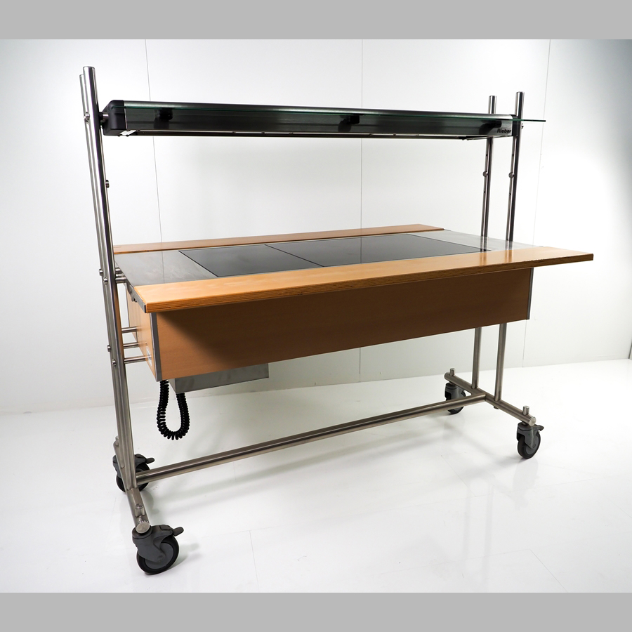 SB-Theke/WarmTop mit Wärmebord, auf Rollen, Roll-in-Buffetto, 1440 x 600 mm, Buche