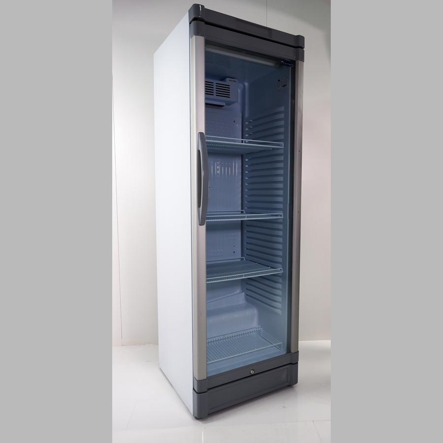 Flaschenkühlschrank 380 Liter, Glastür mit Rahmen alu / grau Kunststoff, Umluft, abschließbar, Korpus weiß