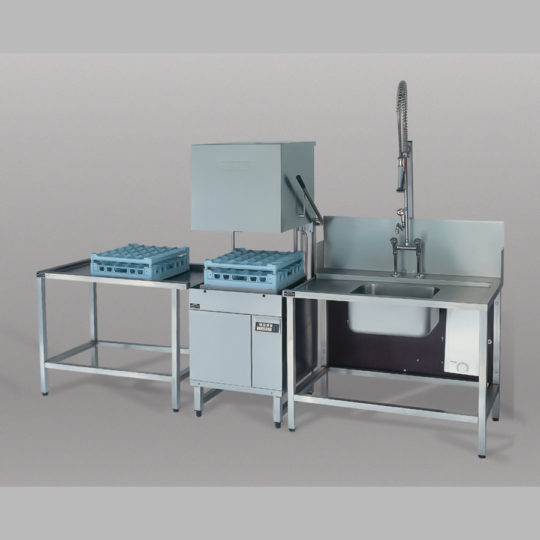 Haubenspülmaschine HX 30/40 für Spülcenter, 400 V, Korb 500 mm, 1 Teller-, 1 Gläser-, 1 Universalkorb