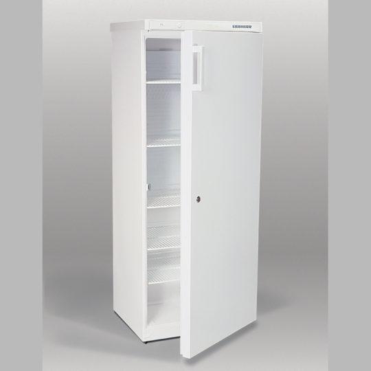 Flaschenkühlschrank 360 Liter, abschließbar, fünf Einlegegitter, weiß