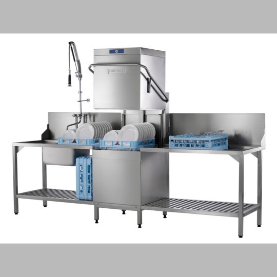 Haubenspülmaschine AUX 70 für Spülcenter, 400 V, Korb 500 mm, 1 Teller-, 1 Gläser-, 1 Universalkorb