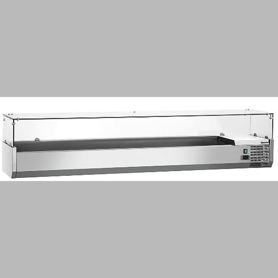 Kühlaufsatz,Tapas / Pizza-Bar, ohne Einsätze 9 x 1/4 GN, B x H  x T = 1800 x 425 x 335 mm, edelstahl