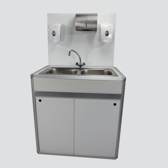 Combi 1 / System-Hygienestation für Flüssigseife, Papierhandtücher, Händedesinfektion, ohne Bestückung,  B x H x T = 900 x 1540 x 600 mm, weiß