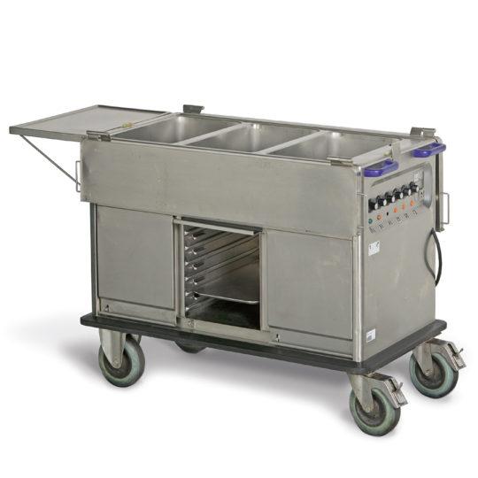 Speiseausgabewagen 3 x 1/1 GN, fahrbar,  mit Wärmeunterschrank, B x H x T =  1230 x 1000 x 680 mm, edelstahl