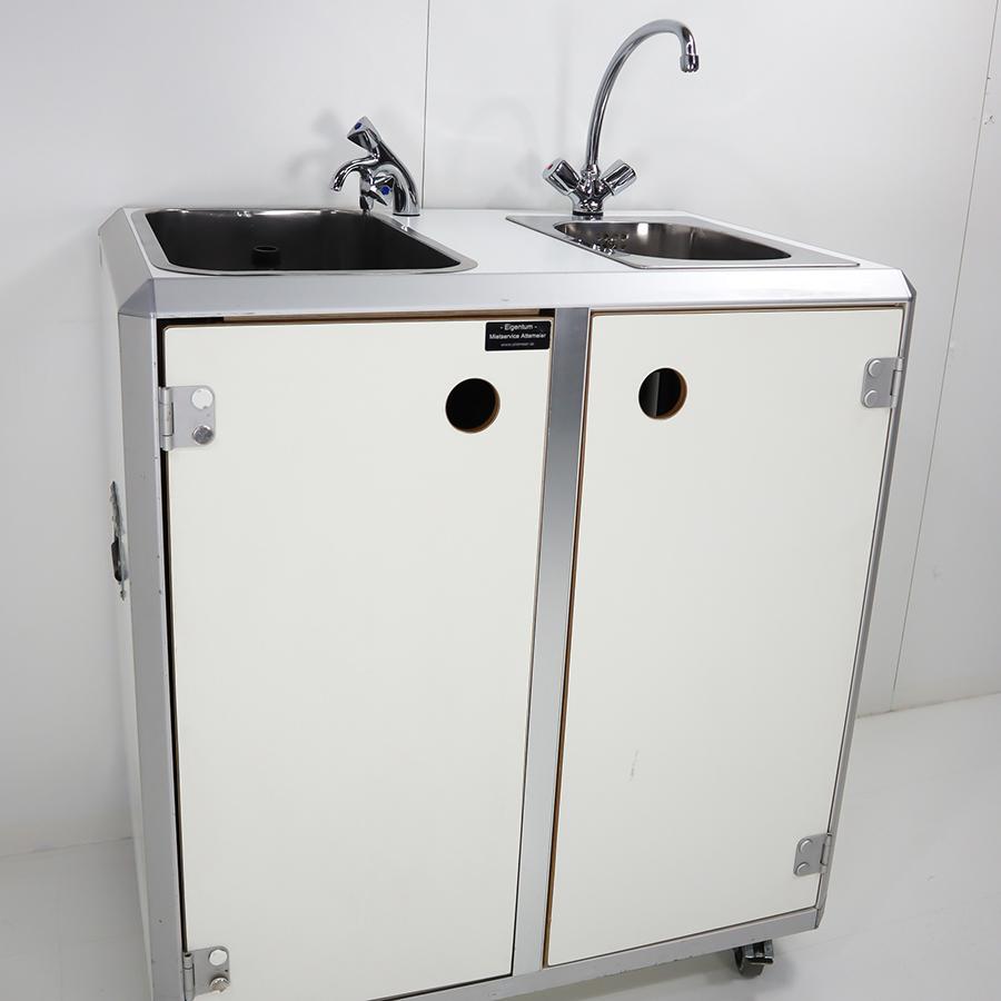 Combi 1 / System-Doppelspüle / 1 Tiefspülbecken, 1 Handwaschbecken, B x H x T = 900 x 960 x 600 mm, weiß