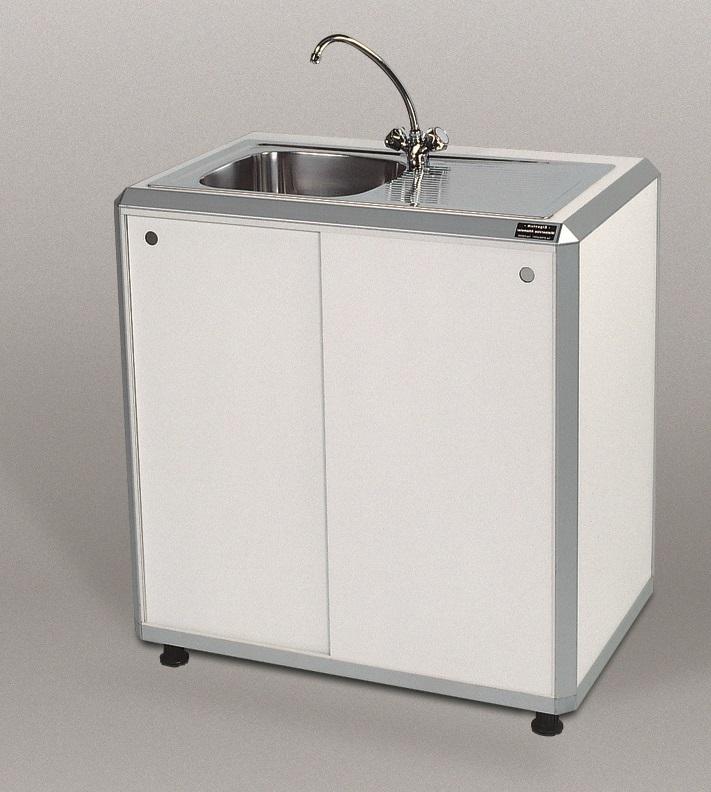 Combi 1 / System-Einfachspüle, B x H x T = 900 x 960 x 600 mm, weiß, Becken links